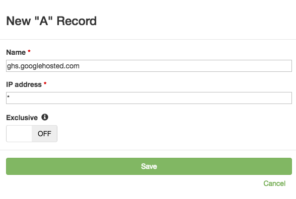Add DNS A record for G Suite with a wildcard value
