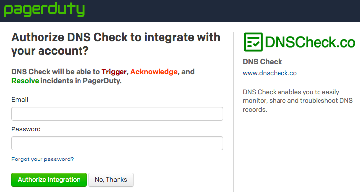 Authorize DNS Check / PagerDuty Integration