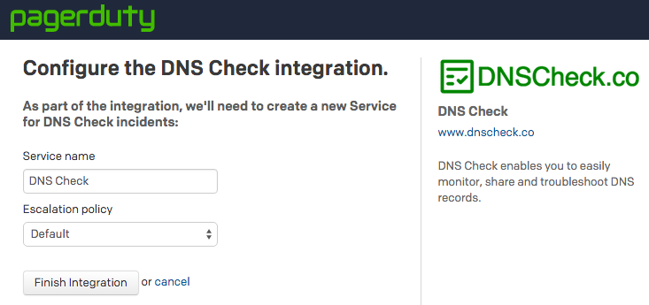 Configure DNS Check / PagerDuty Integration