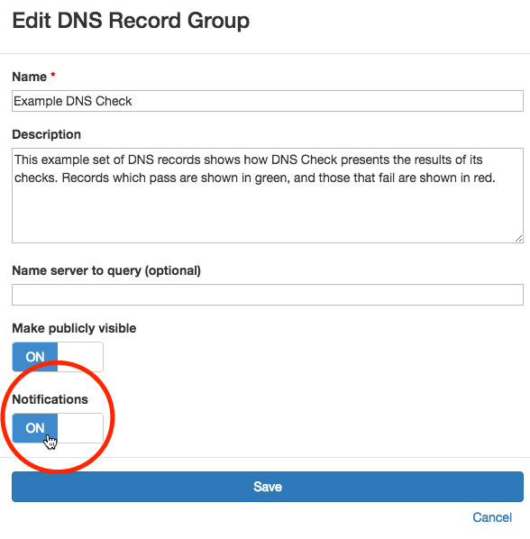 Disable DNS Record Group Notifications