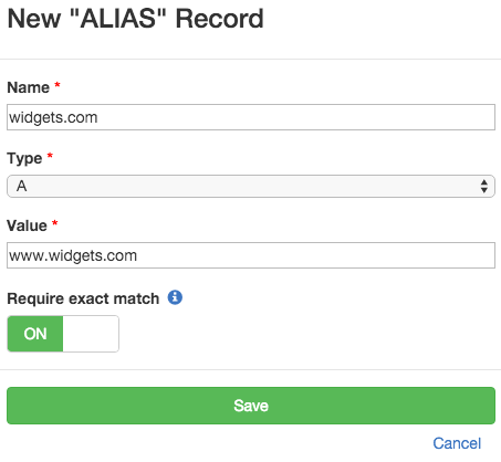 Check if ALIAS DNS record exists for the APEX domain that points to the www subdomain