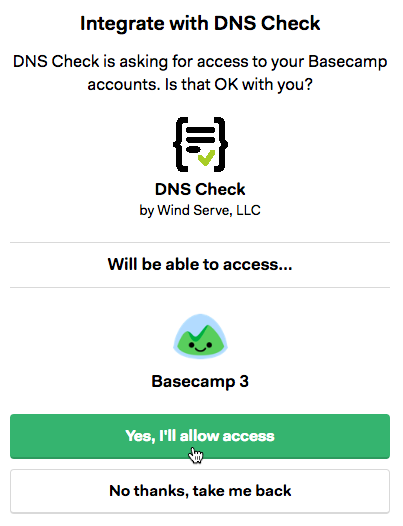 DNS Check / 37 Signals Authorization Page