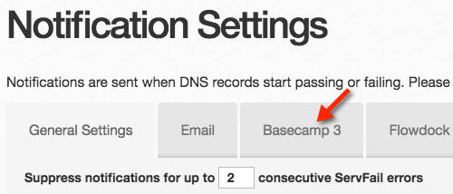 DNS Check Basecamp 3 Tab