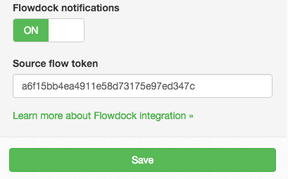 DNS Check / Flowdock integration settings, including the source flow token