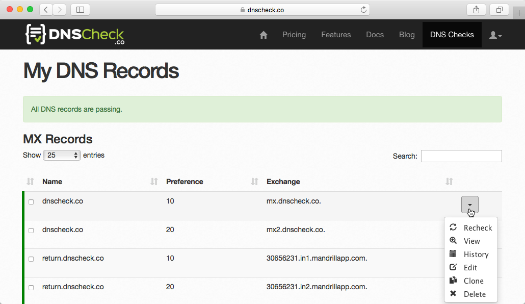 DNS Check Report with MX Records