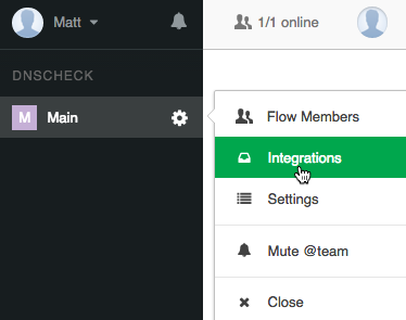 Flowdock Integrations Menu