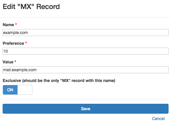 Monitored MX record at DNS Check