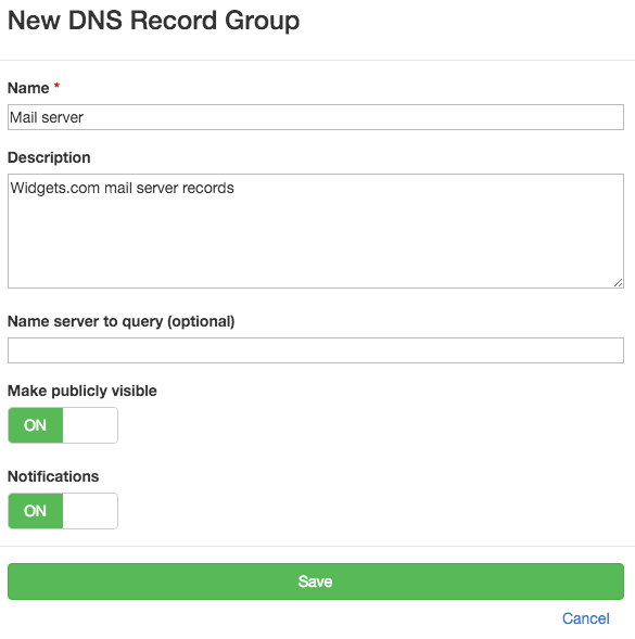 Add DNS record group