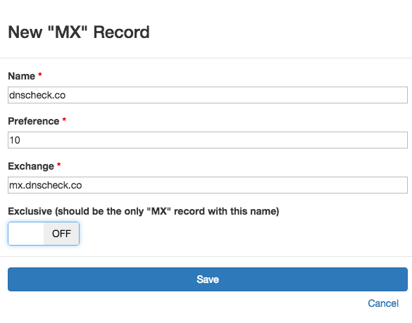 New DNS MX Record Check