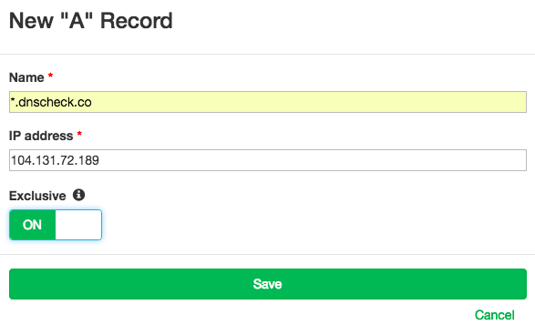 New Wildcard DNS Record Form