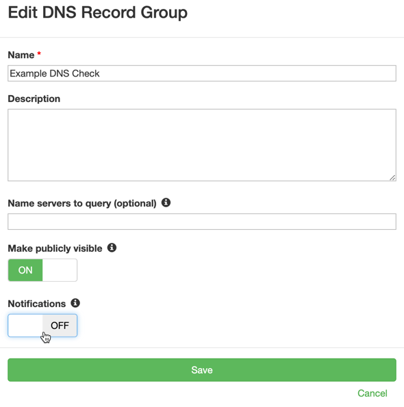Turn off notifications for a DNS record group